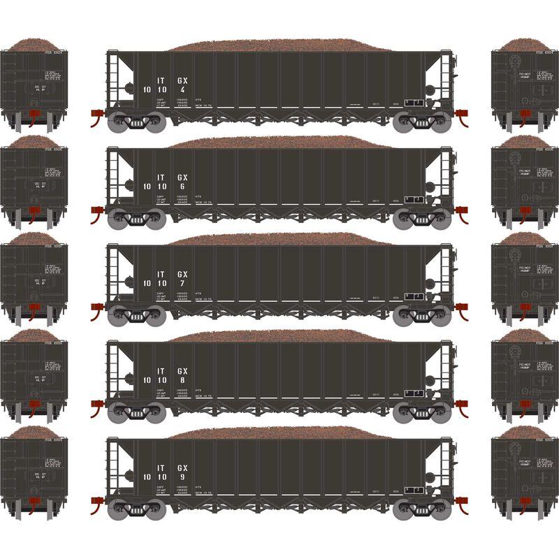 HO RTR 5-Bay Rapid Discharge Hopper ITGX Black (5)