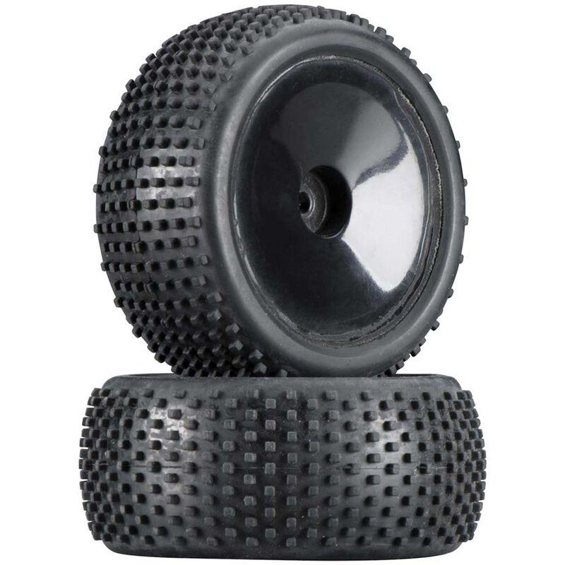 Square Block Tire Dish Wheel (2): Black 4.18MT