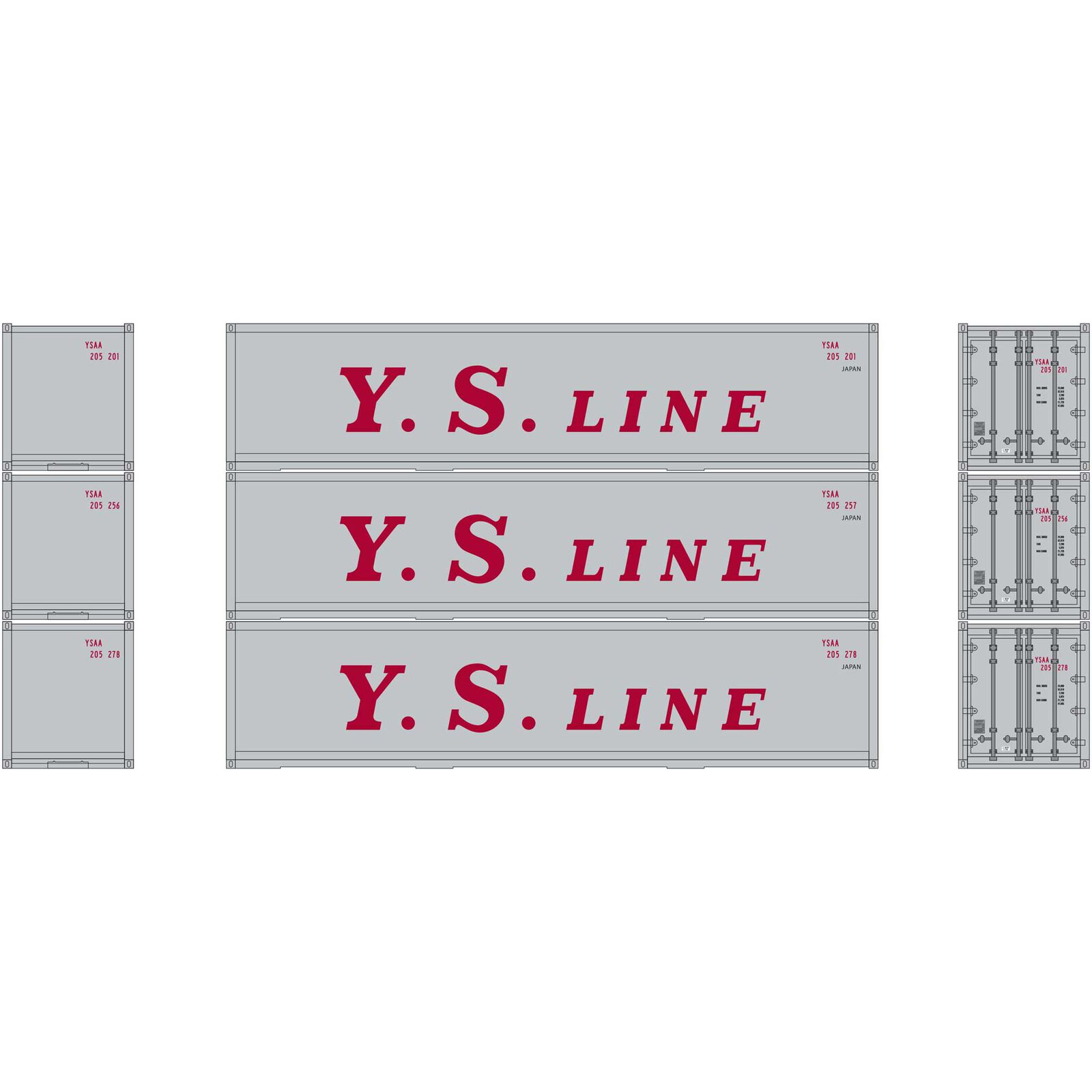 HO RTR 40' Smooth Side Container YS Line (3)