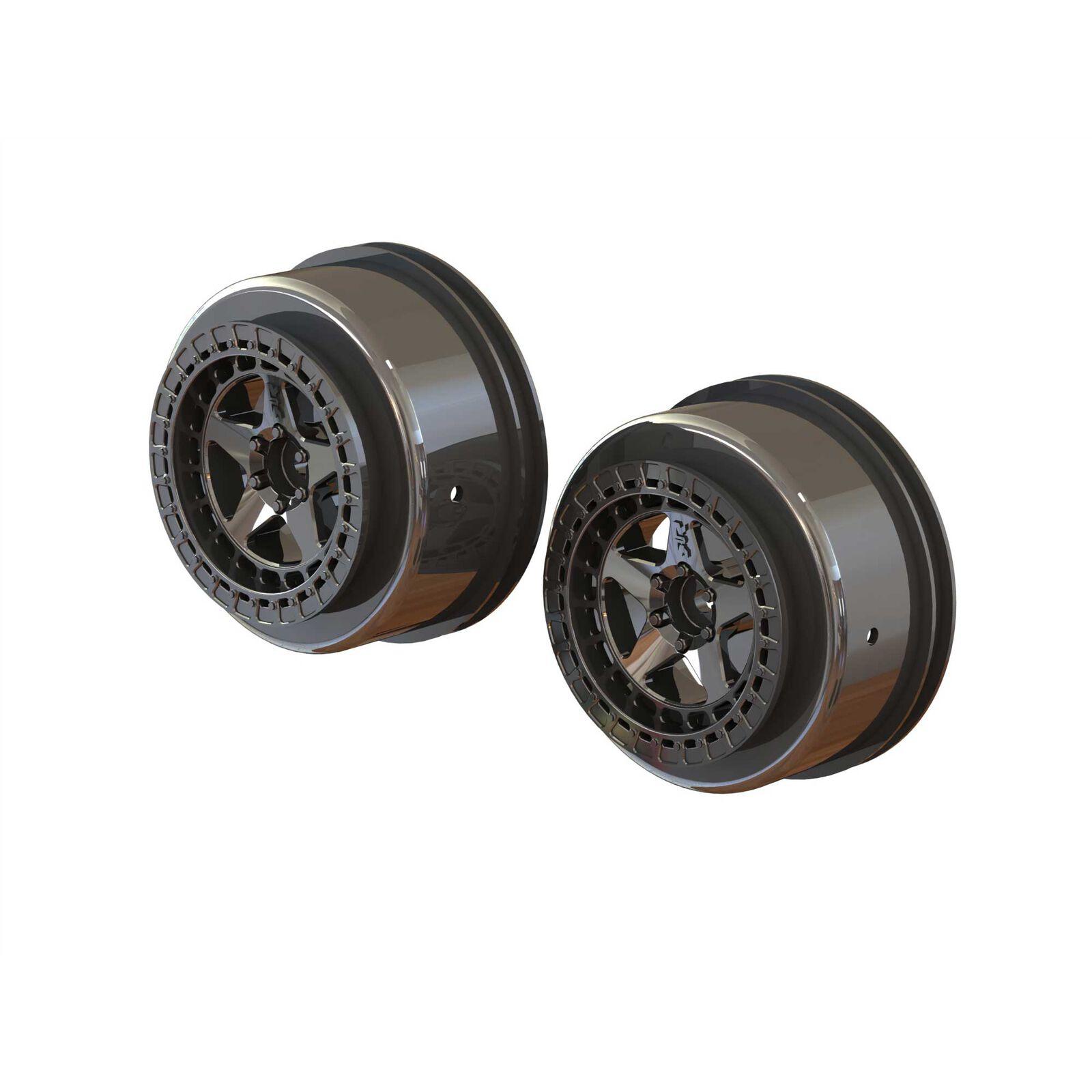 1/10 SC Front/Rear 2.2/3.0 Wheels, 14mm Hex, Black Chrome (2)