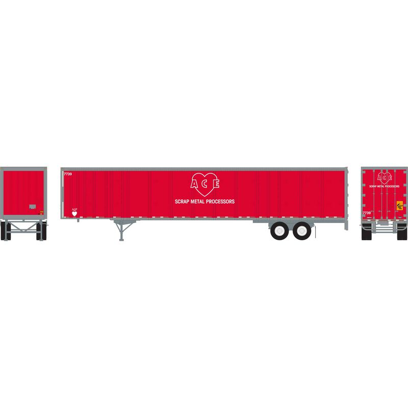 HO RTR 53' Wabash Plate Trailer ACE #7739