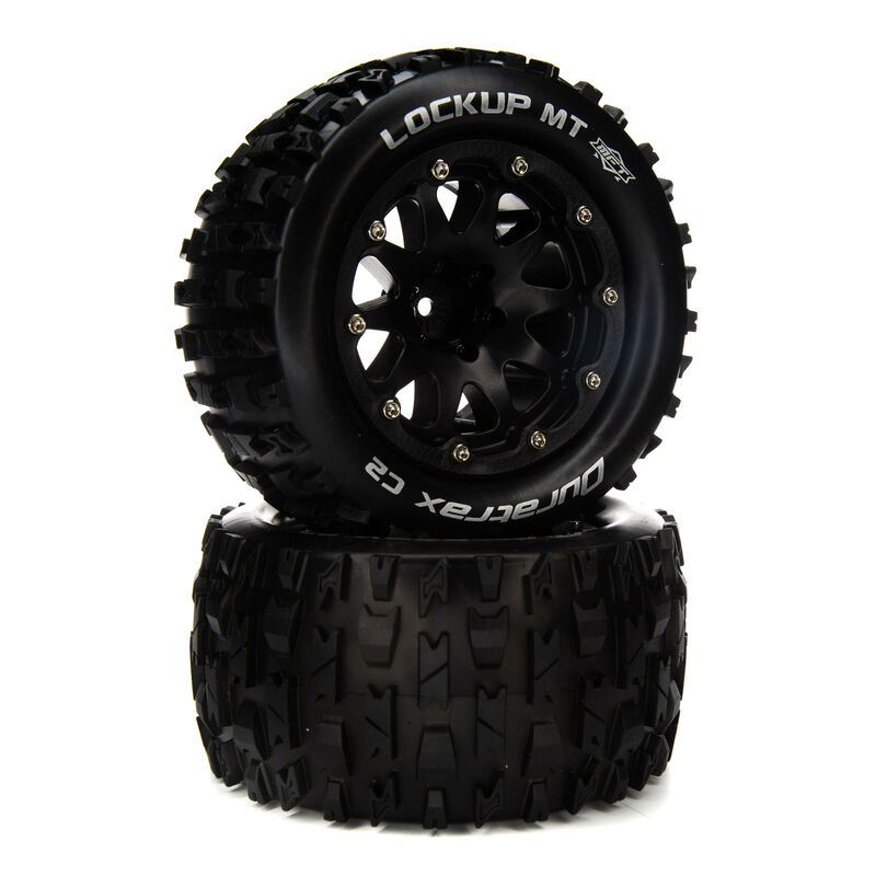 """Lockup MT Belted 2.8"""" Mounted Front/Rear Tires, 14mm Black (2)"""