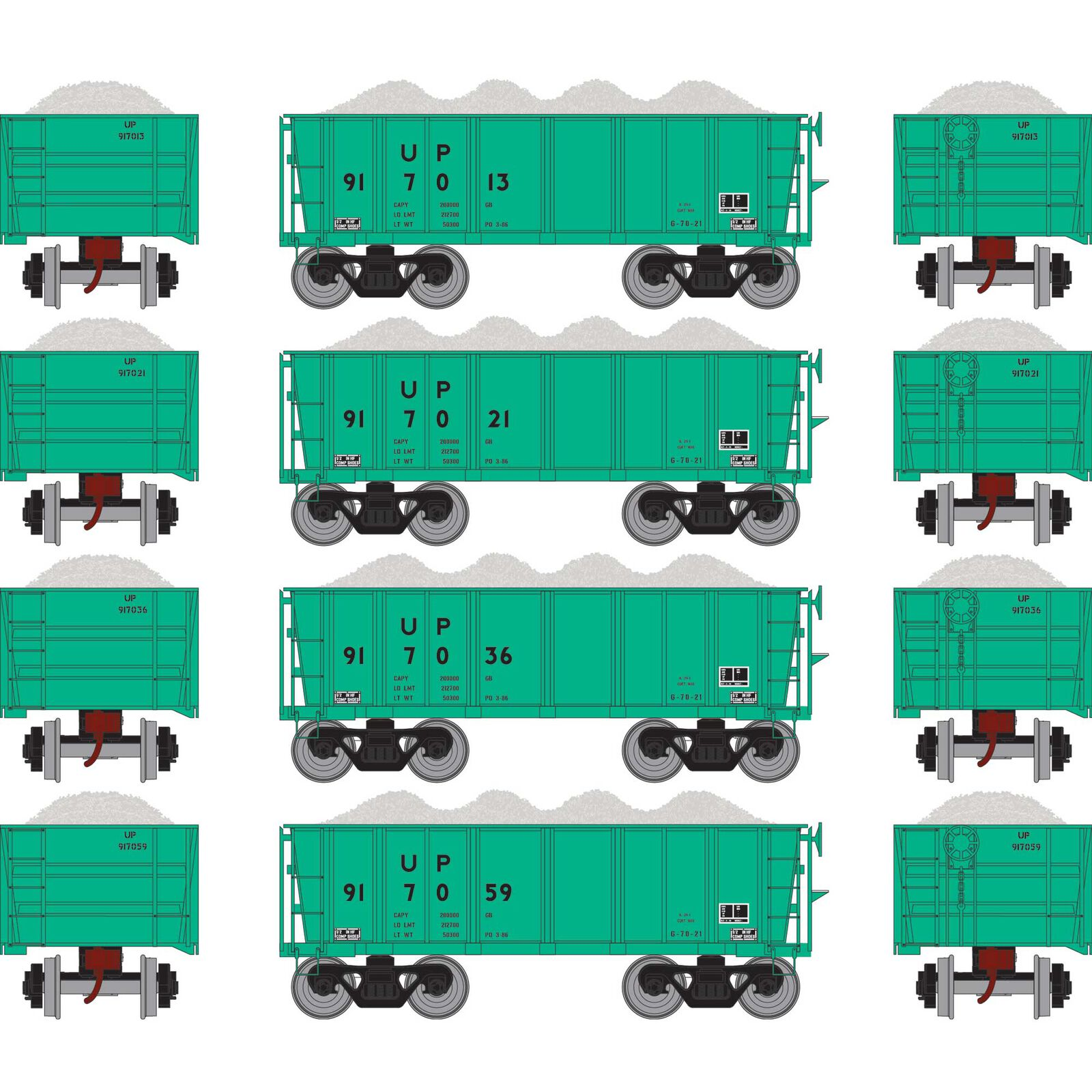 HO RTR 26' Ore Car Low Side with Load, UP/MOW #3 (4)
