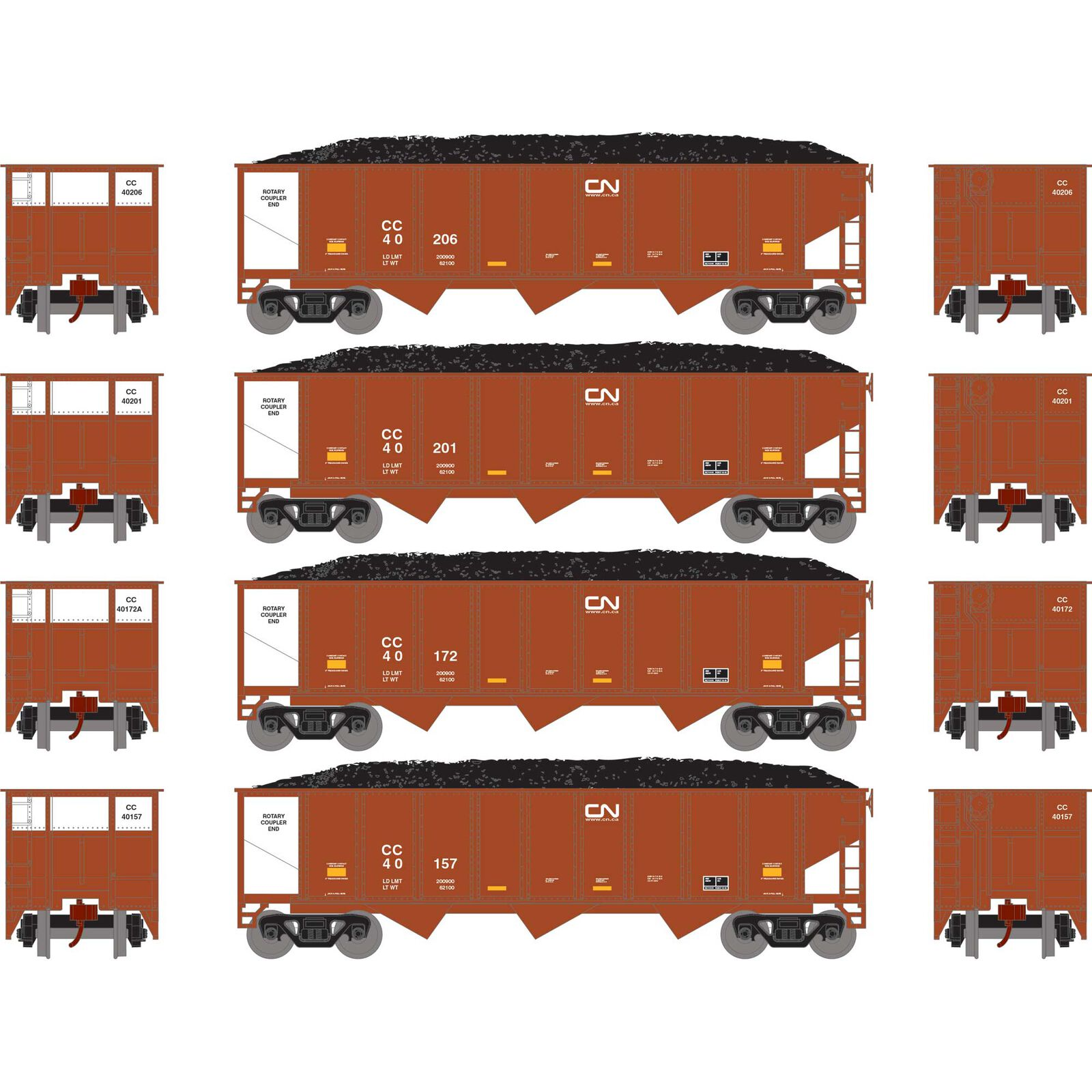 N 40' 3-Bay Ribbed Hopper with Load, CC #2 (4)