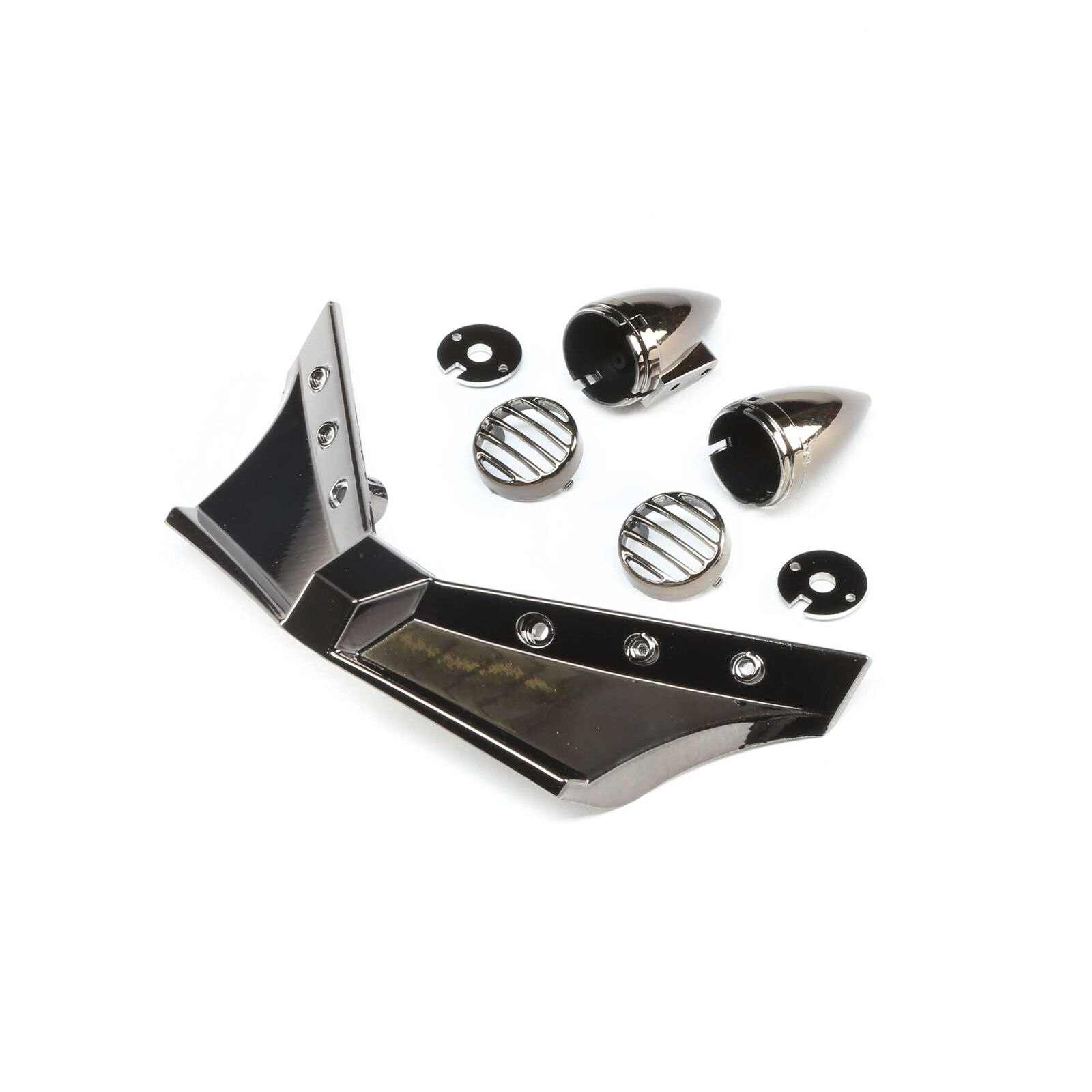Front Bumper and Headlights, Black/Chrome: Doomsday
