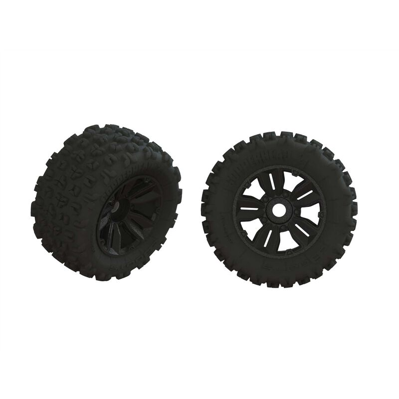 1/5 dBoots Copperhead2 SB MT Front/Rear 3.8 Pre-Mounted Tires, 17mm Hex (2)