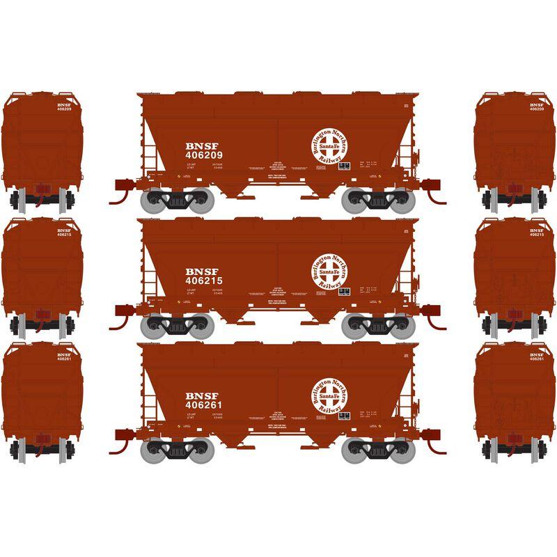 N ACF 2970 Covered Hopper, BNSF Brown  (3)