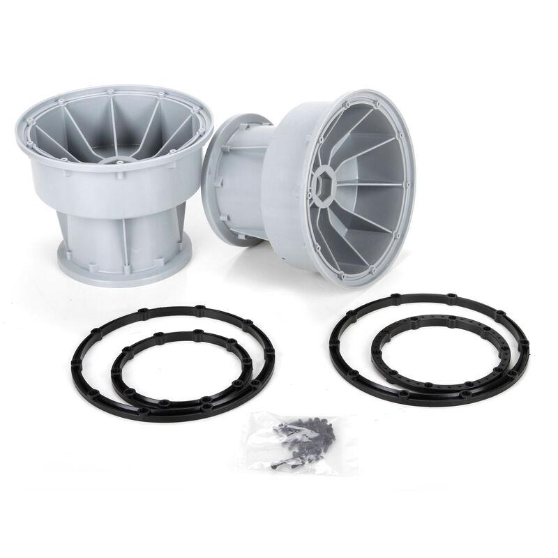 Silver Wheel & Black Bead Lock Rings (2)  MTXL