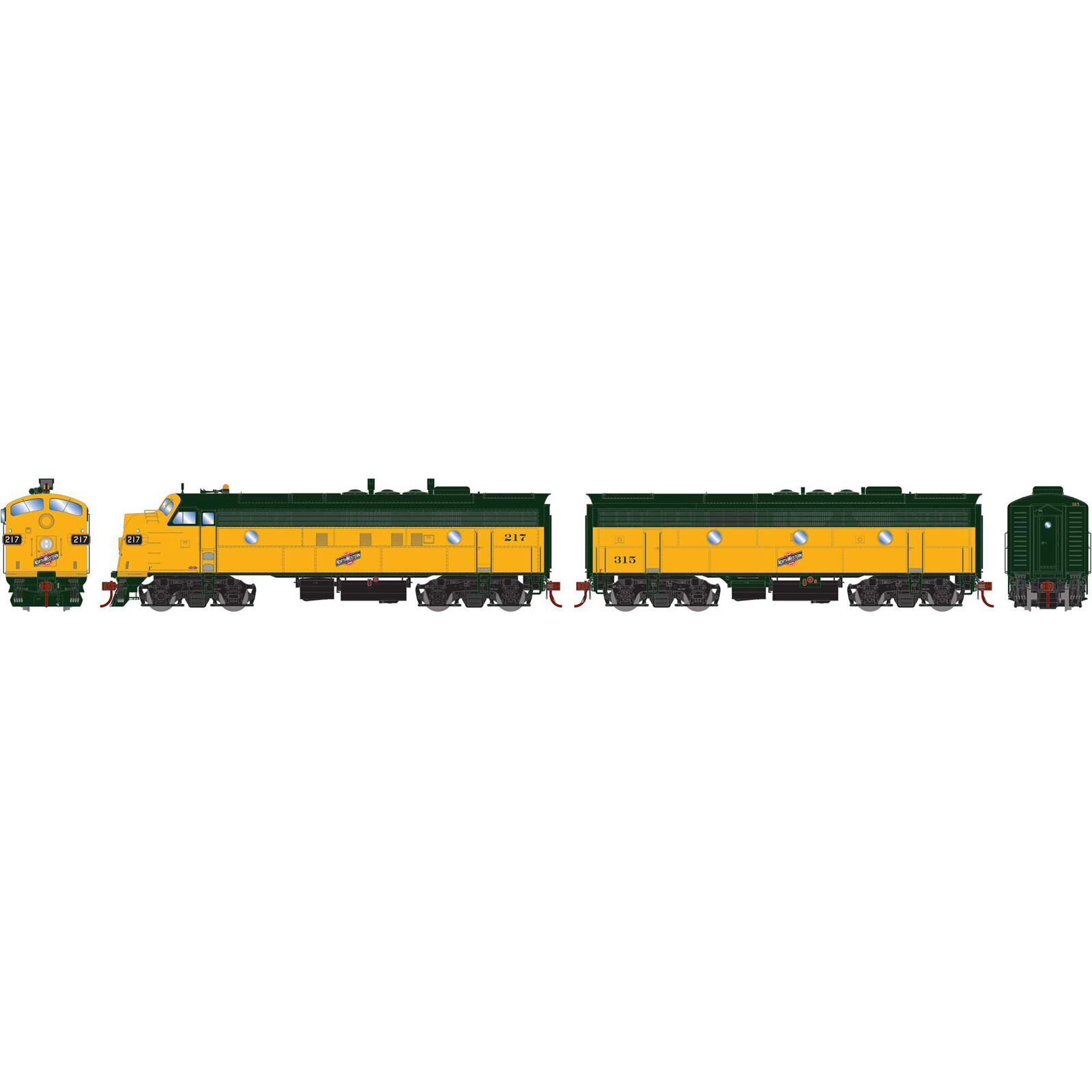 HO FP7A F7B with DCC & Sound C&NW #217 #315