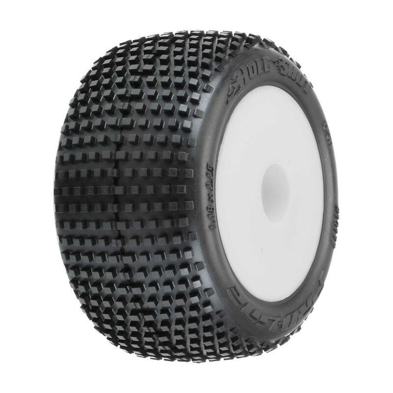 Hole Shot Mounted F/R Tires, White: Mini-T 2.0