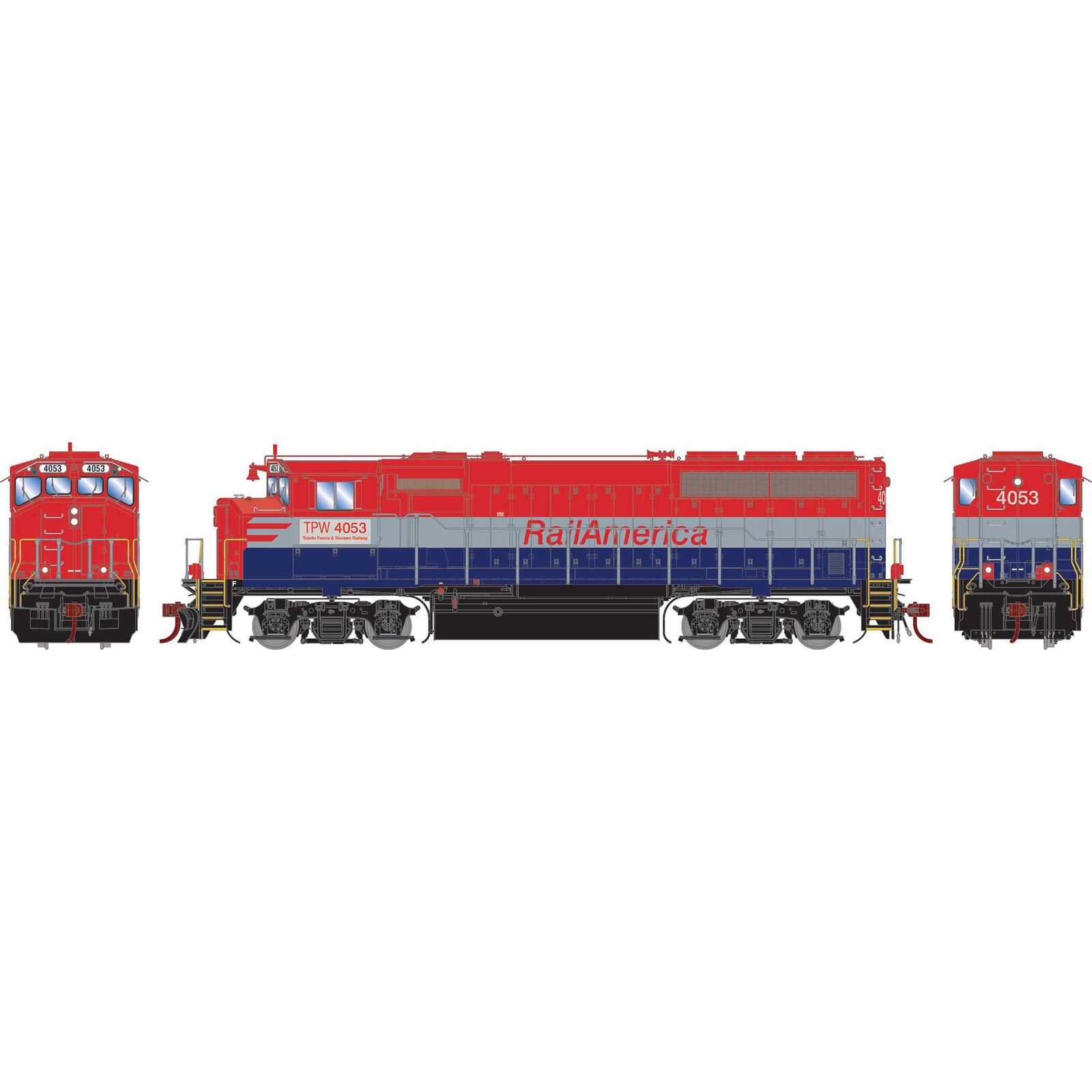 HO GP40-2L with DCC & Sound, Rail America/TP&W #4053