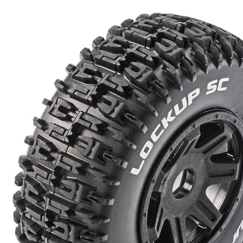 Lockup SC Mounted Soft Tires, Black 17mm Hex (2)