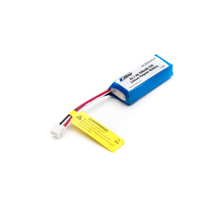 7.4V 200mAh 2S 25C LiPo Battery: PH