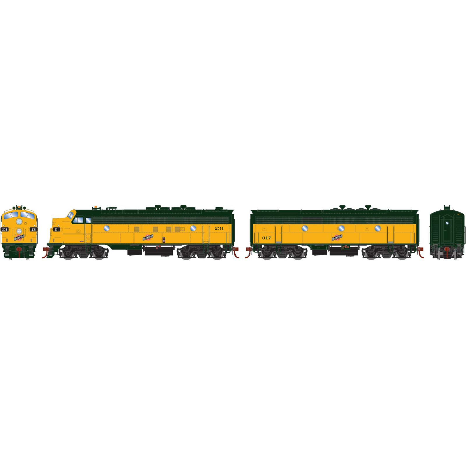 HO FP7A F7B with DCC & Sound C&NW #231 #317