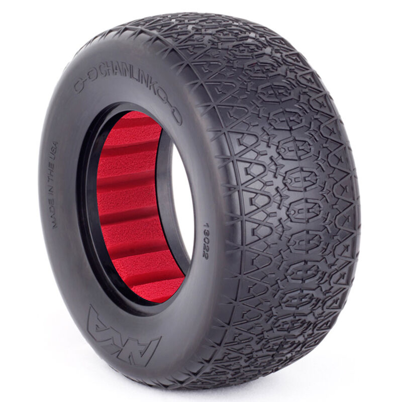 1/10 Chain Link SC Wide Super Soft Front/Rear Wheel Mounted with Red Inserts (2)