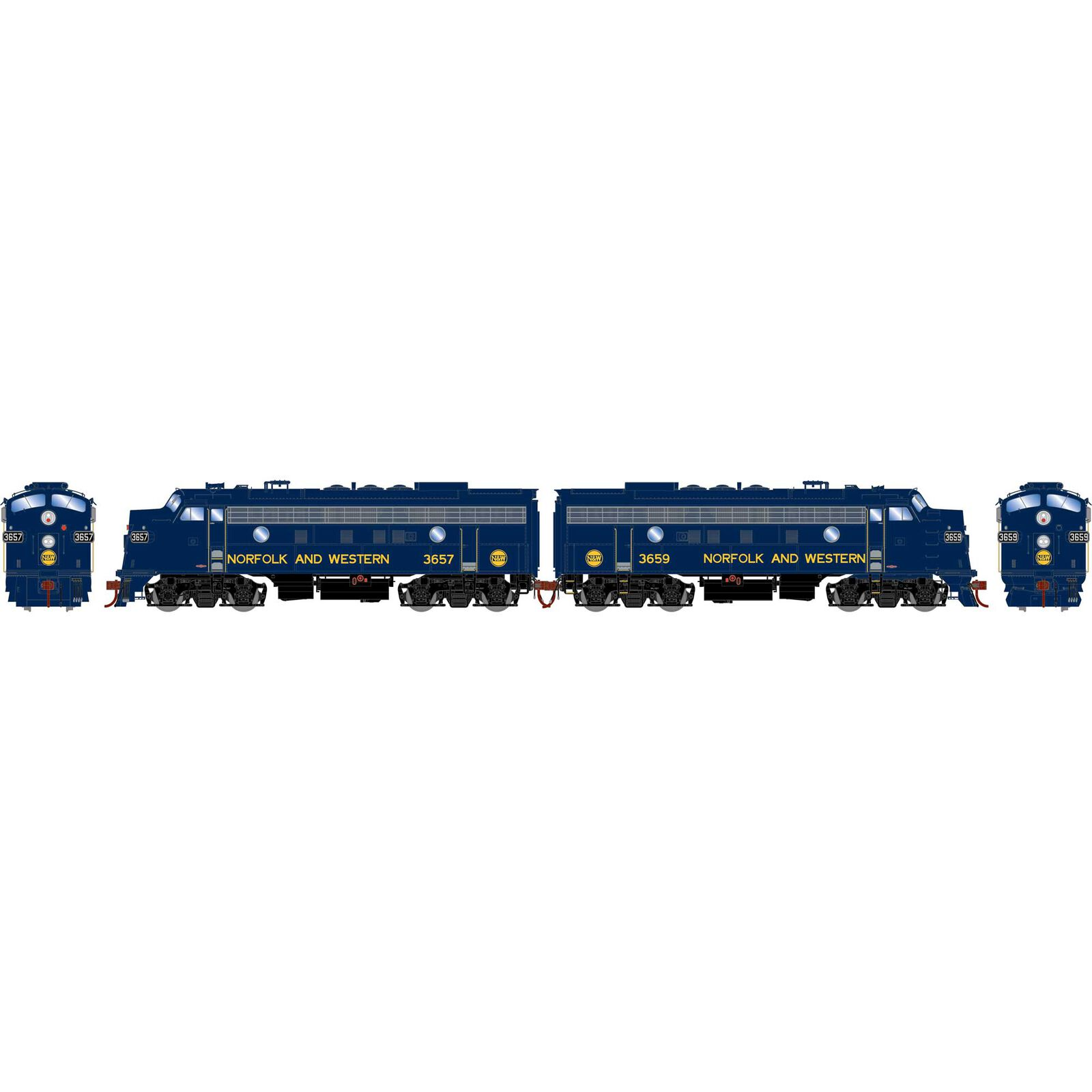 HO F7 A/A with DCC & Sound, N&W/Freight #3657/#3659
