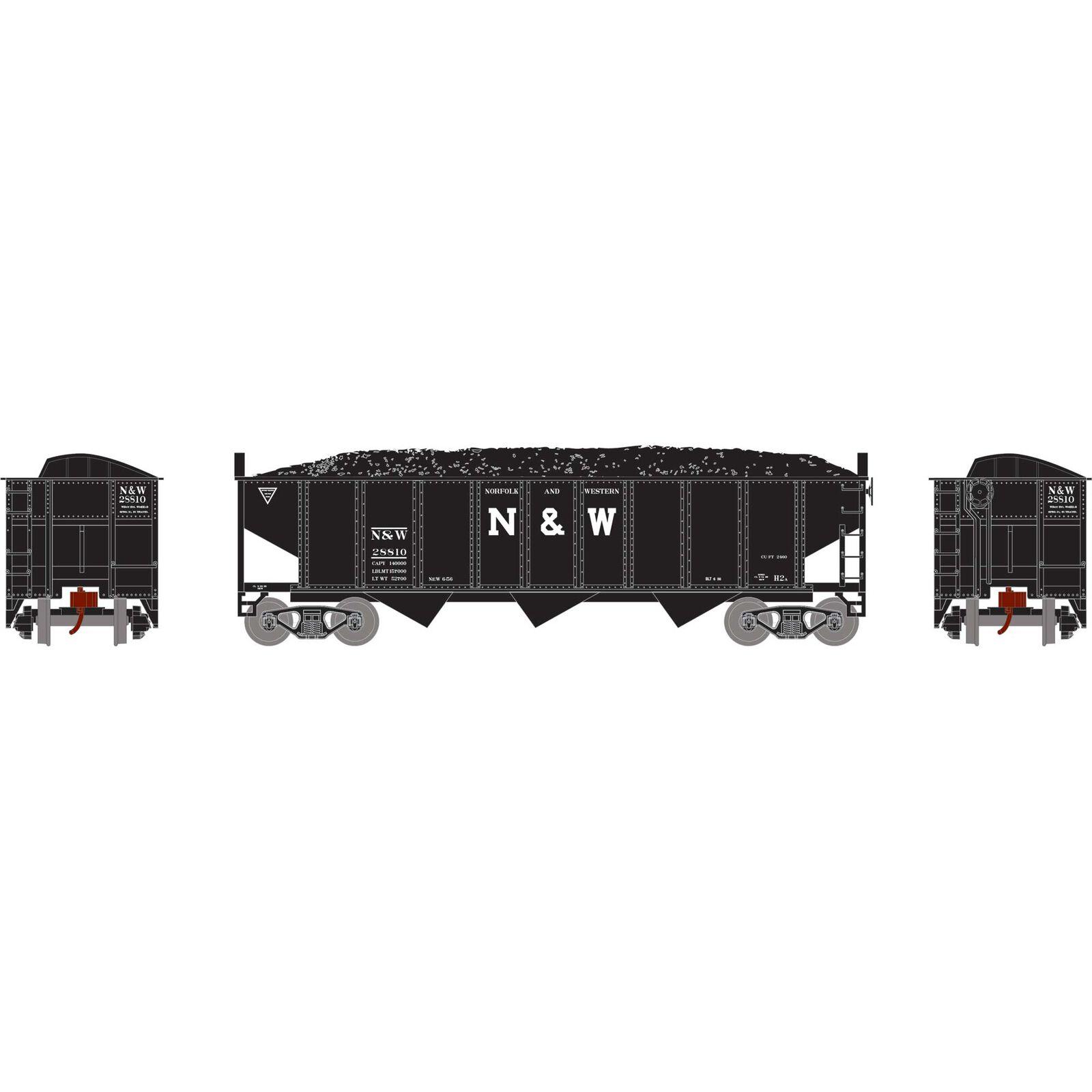 N 40' 3-Bay Ribbed Hopper with Load, N&W #28810