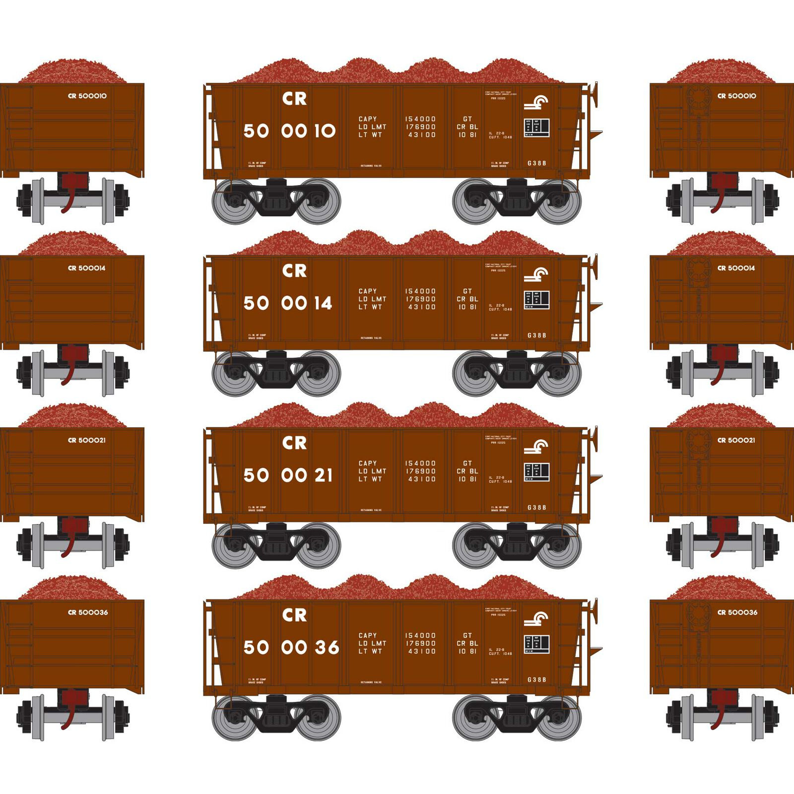 HO RTR 26' Ore Car Low Side with Load, CR #1 (4)