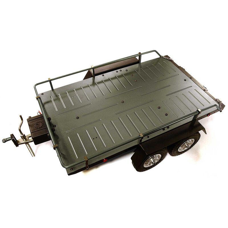Alloy Flatbed Dual Axle Car Trailer, Gunmetal: 1/10 RC