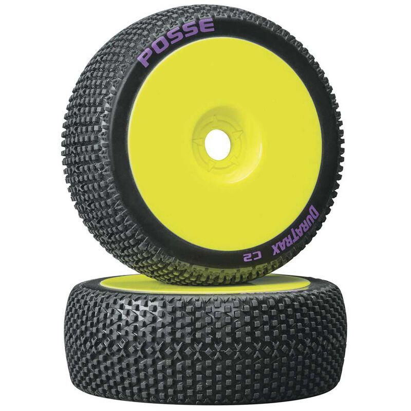 Posse 1/8 C2 Mounted Buggy Tires, Yellow (2)
