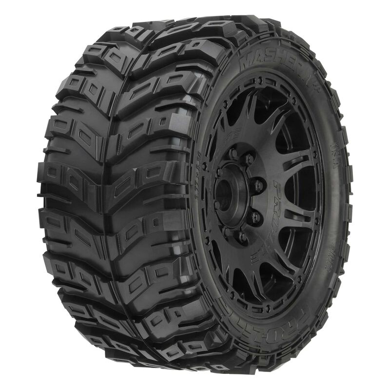 """1/6 Masher X HP BELTED Fr/Rr 5.7"""" MT Tires Mounted 24mm Blk Raid (2)"""