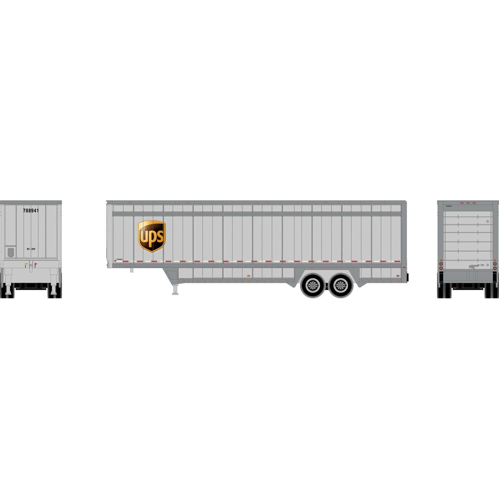 HO 40' Drop Sill Parcel Trailer, UPS/Logo #708941