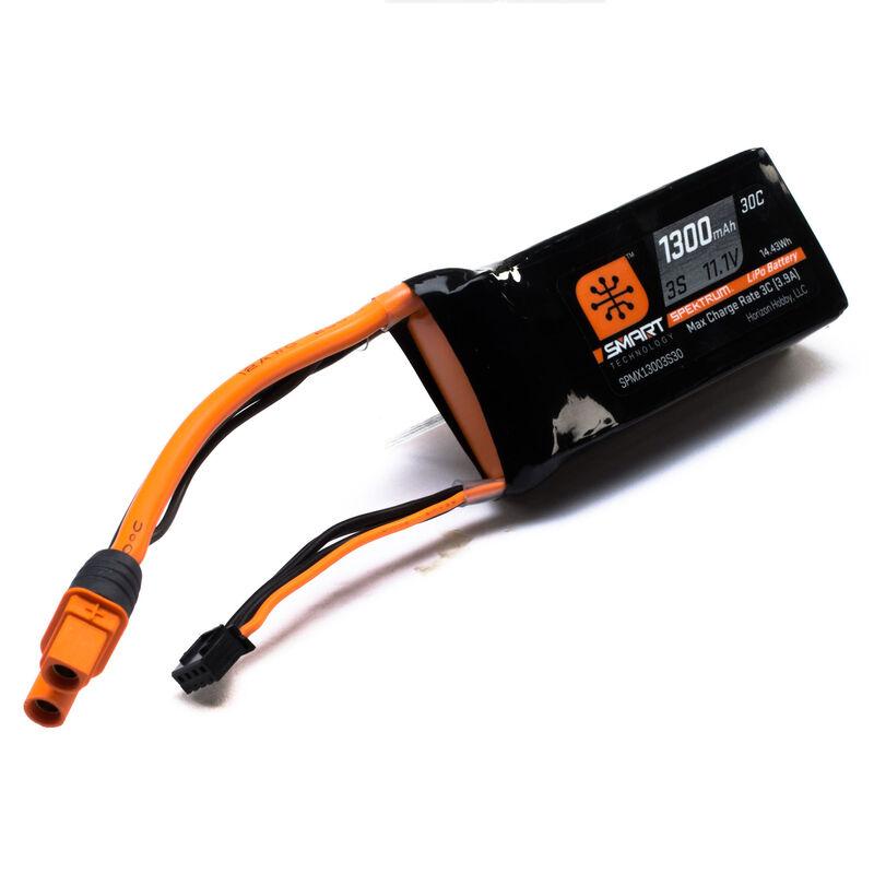 11.1V 1300 mAh 3S 30C Smart LiPo Battery, IC3