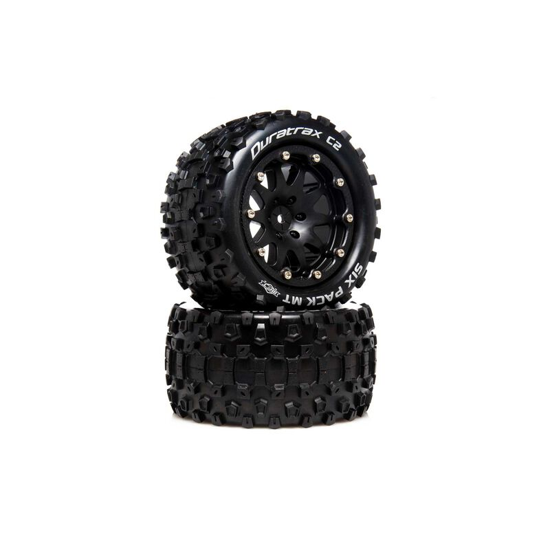 """Six Pack MT Belted 2.8"""" 2WD Mounted Rear Tires, 0 Offset, Black (2)"""