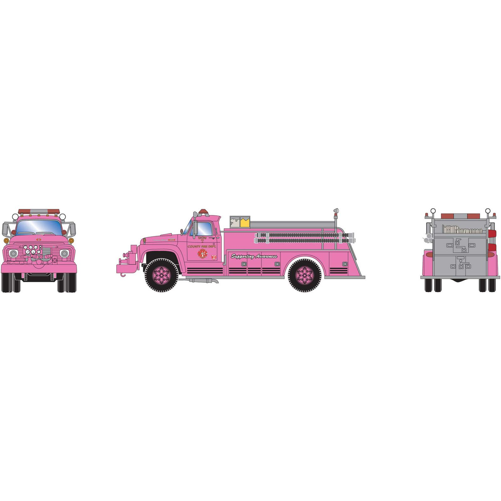 HO RTR Ford F-850 Fire Truck, County Fire Pink