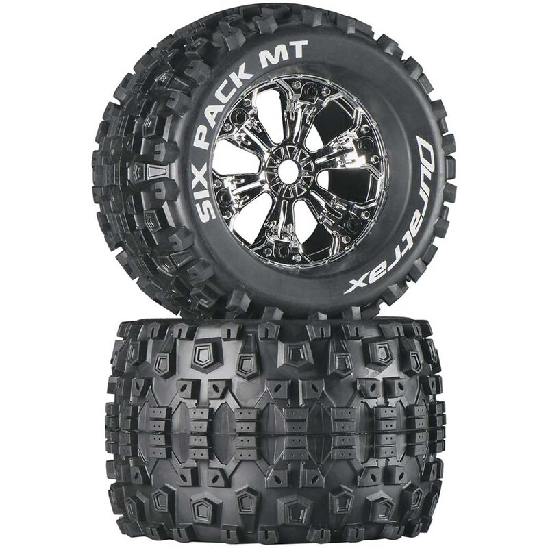 """Six-Pack MT 3.8"""" Mounted Tires, Chrome (2)"""