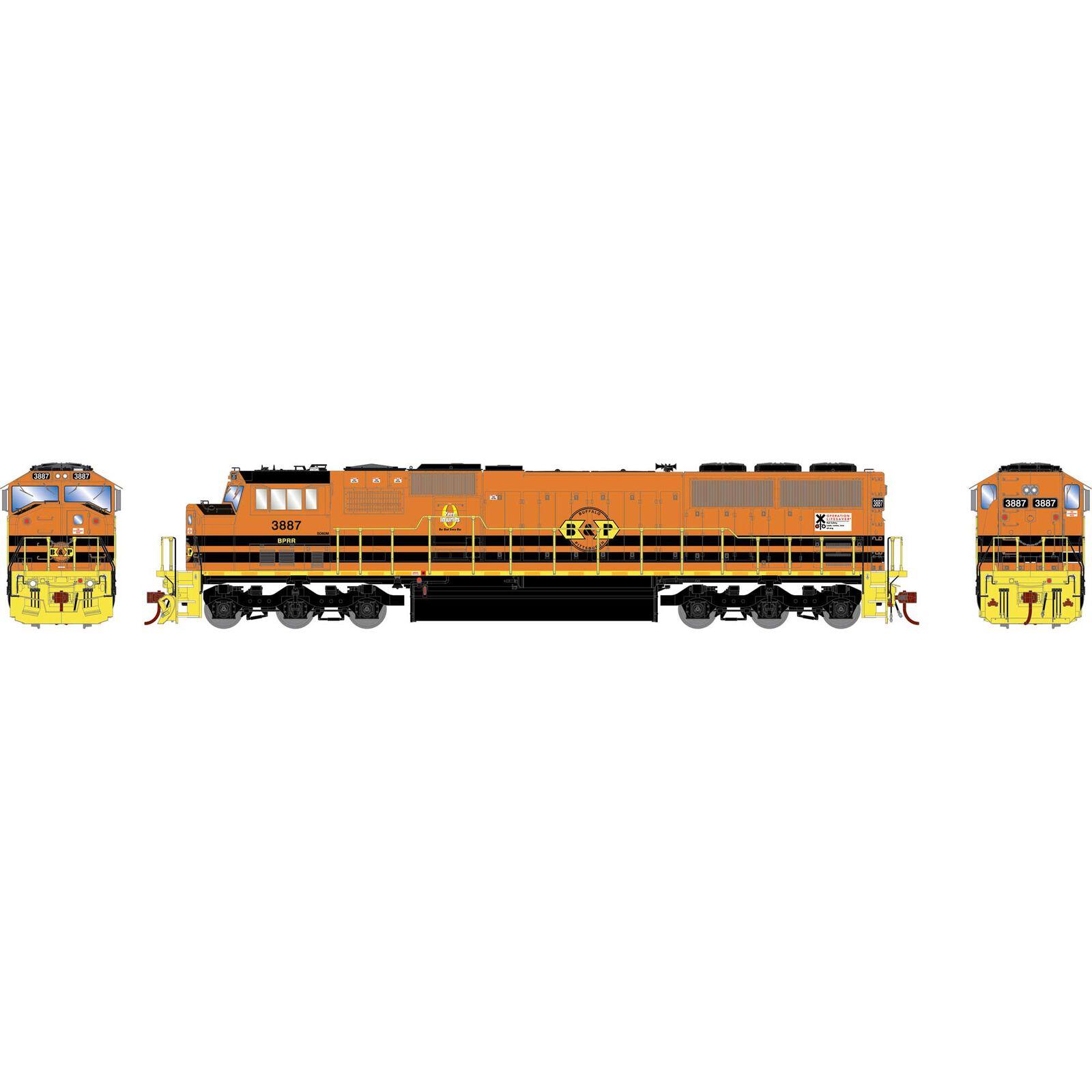 HO SD60M, B&P/Orange/Yellow #3887