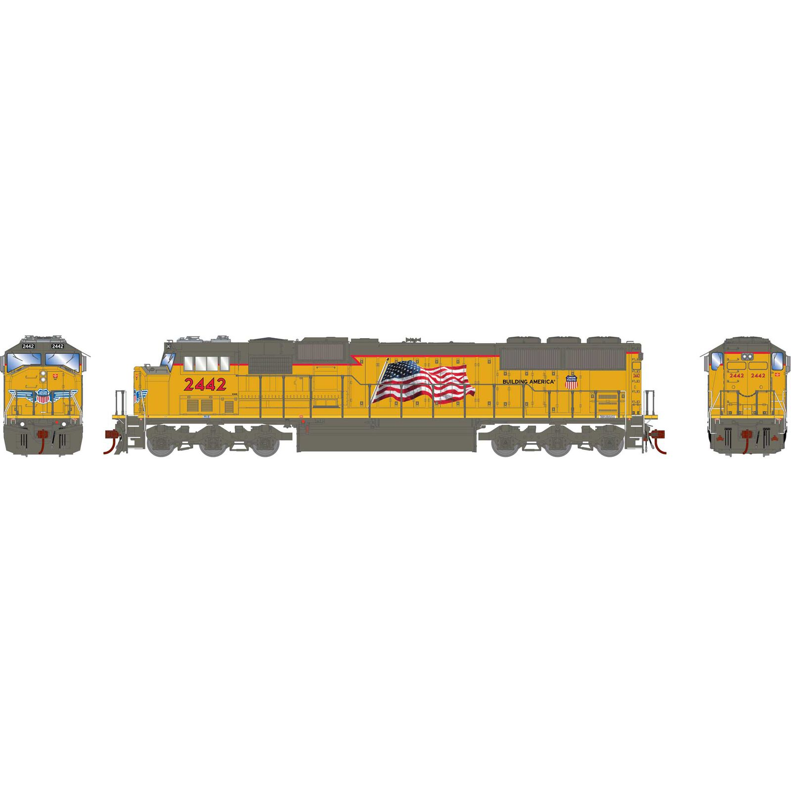 HO SD60M with DCC & Sound, UP/Yellow Sill/Flag #2442