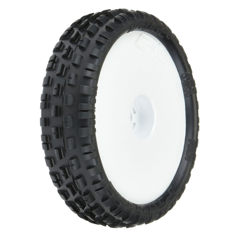 """Wedge Squared 2.2"""" 2WD Z4 Buggy Tires, White Wheel Mounted (2): RB7, B6, B6D"""