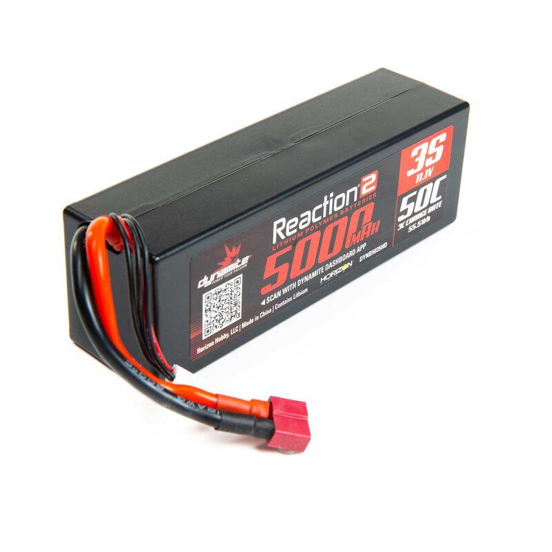 11.1V 5000mAh 3S 50C Reaction 2.0 Hardcase LiPo Battery: Deans