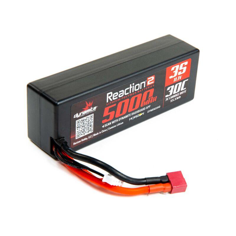 11.1V 5000mAh 3S 30C Reaction 2.0 Hardcase LiPo Battery: Deans