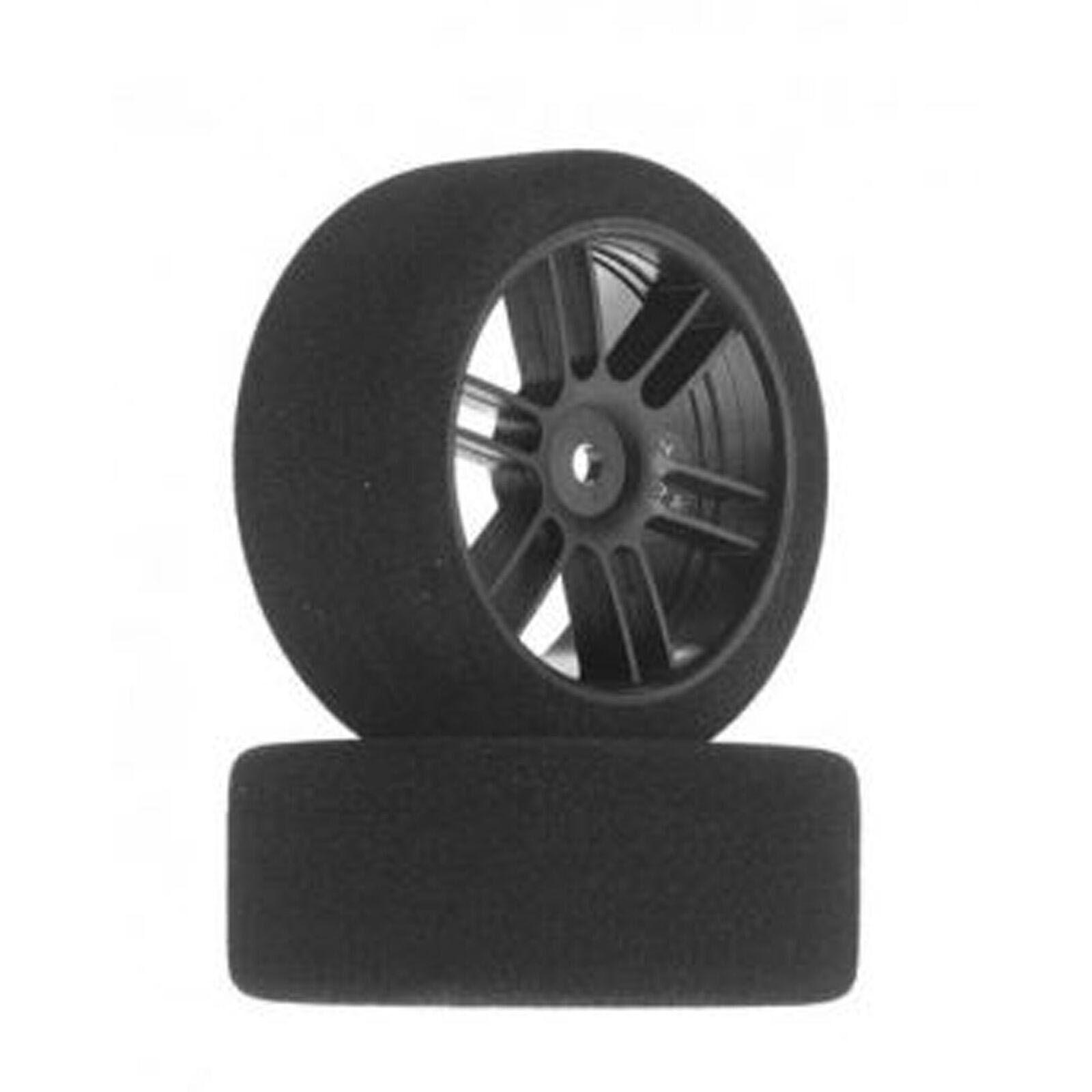 1/10 26mm Nitro Touring Foam Tires, Mounted, 35 Front, Black Wheels (2)