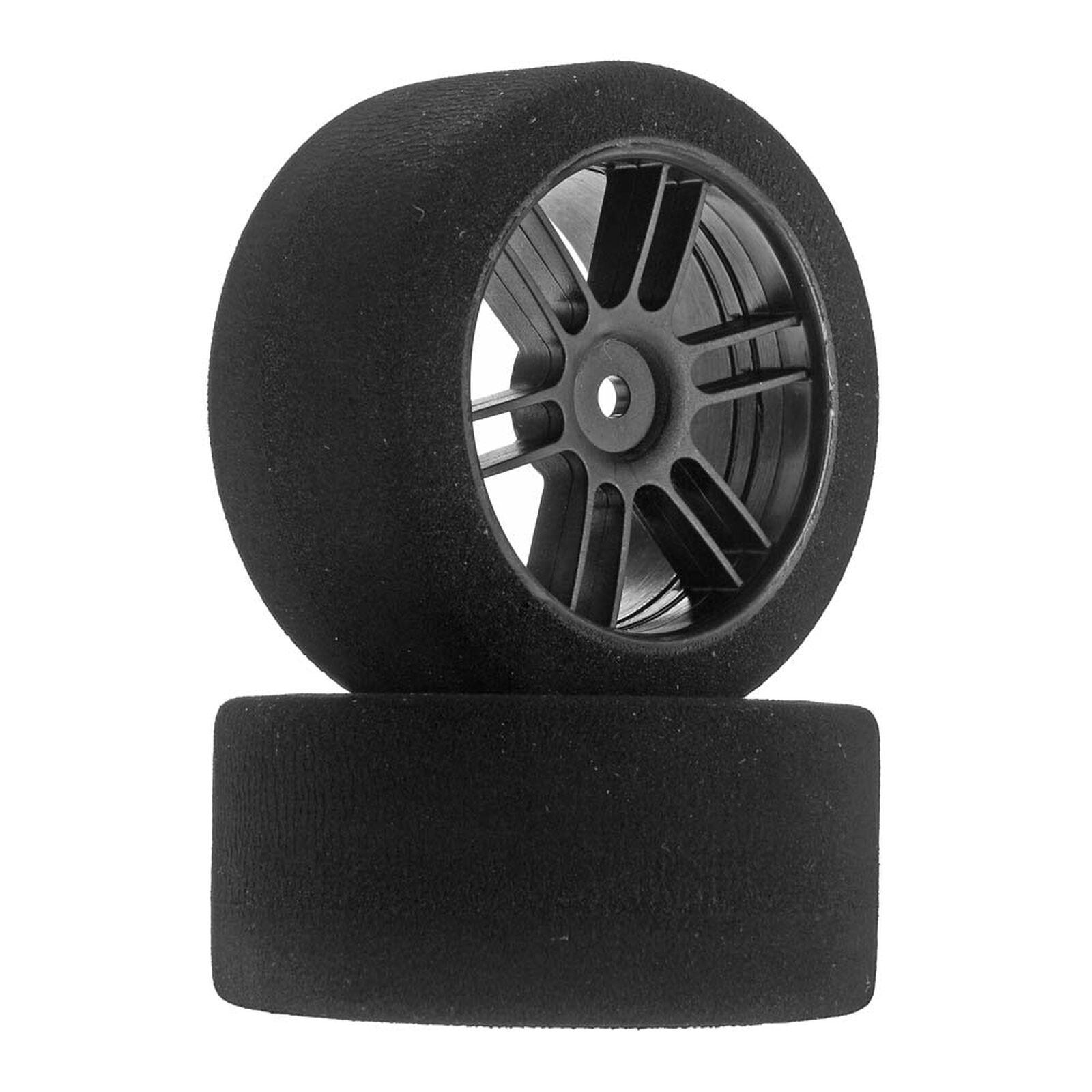 1/10 30mm Nitro Touring Foam Tires, Mounted, 38 Rear, Black Wheels (2)