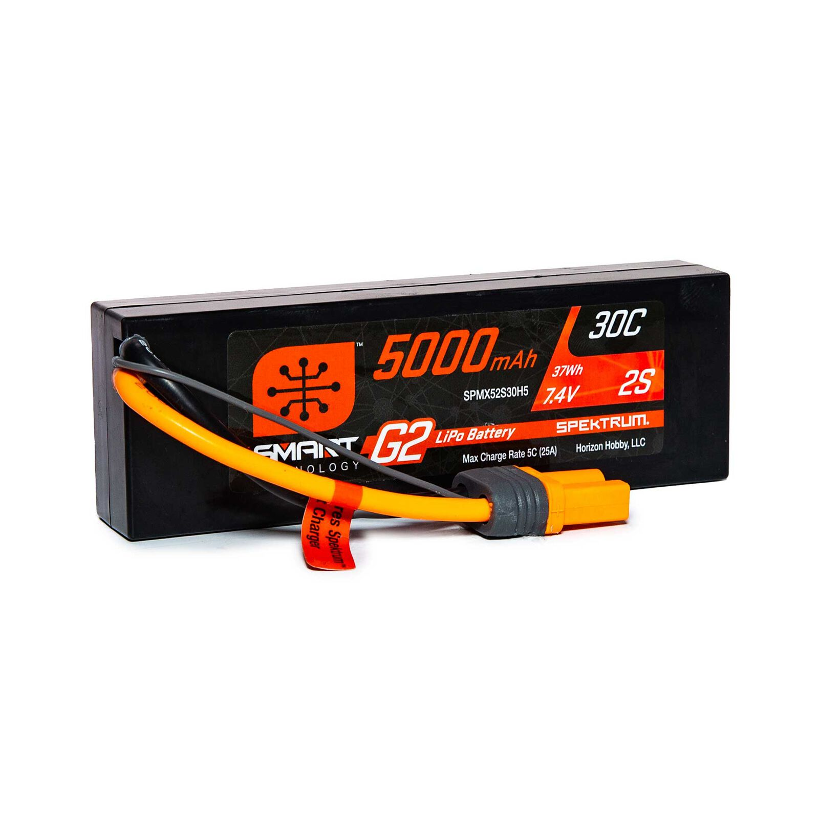 7.4V 5000mAh 2S 30C Smart G2 Hardcase LiPo Battery: IC5