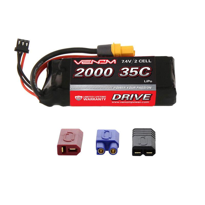 7.4V 2000mAh 2S 35C DRIVE LiPo Battery: UNI 2.0 Plug