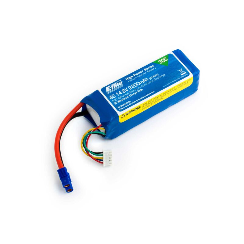 14.8V 2200mAh 4S 30C LiPo, Battery: EC3