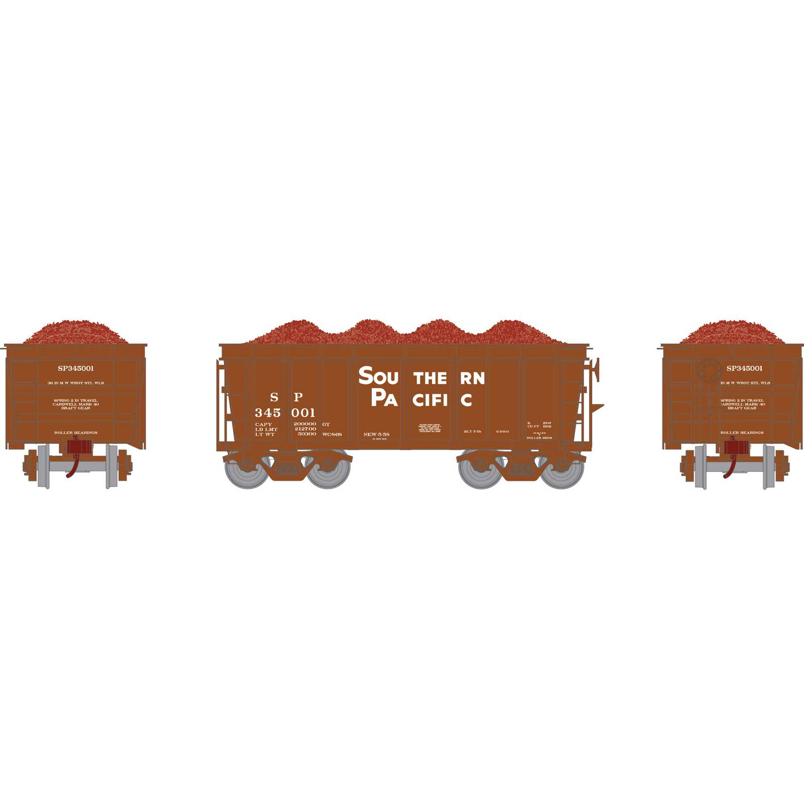 HO RTR 26' Ore Car High Side with Load, SP #345001