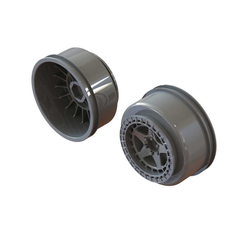 "SC 2.2"" 3.0"" Wheel 14mm Hex Gun Metal (2)"