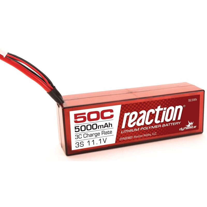 Reaction 11.1V 5000mAh 50C 3S LiPo, Battery, Hardcase: Deans