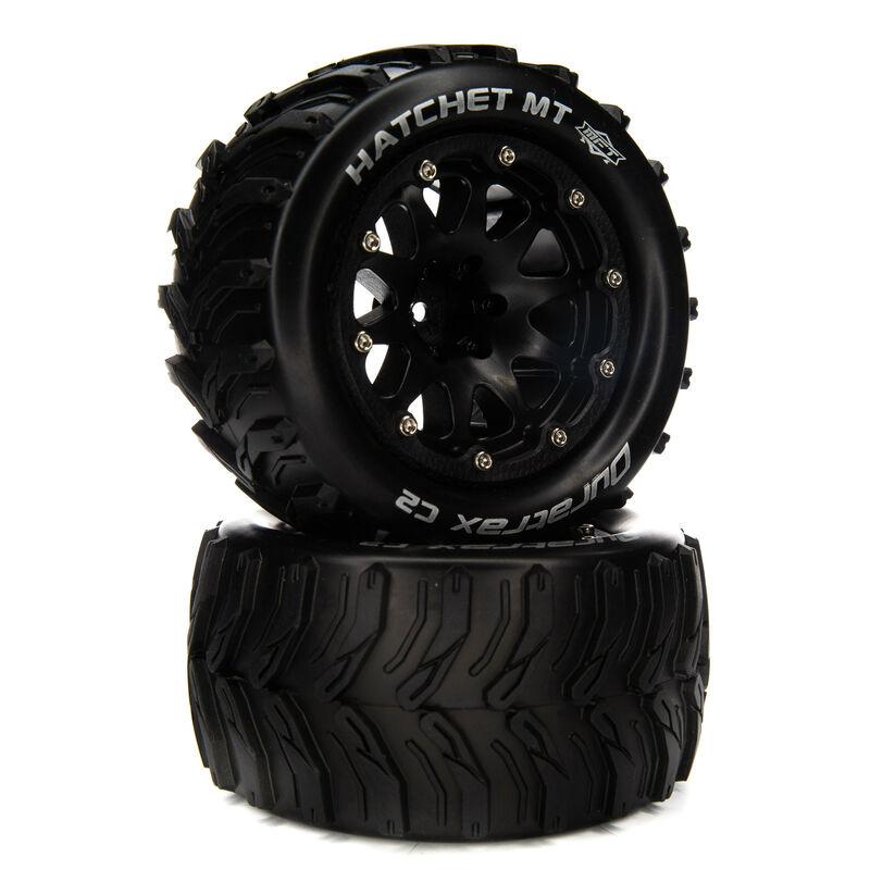 """Hatchet MT Belted 2.8"""" Mounted Front/Rear Tires, 14mm Black (2)"""