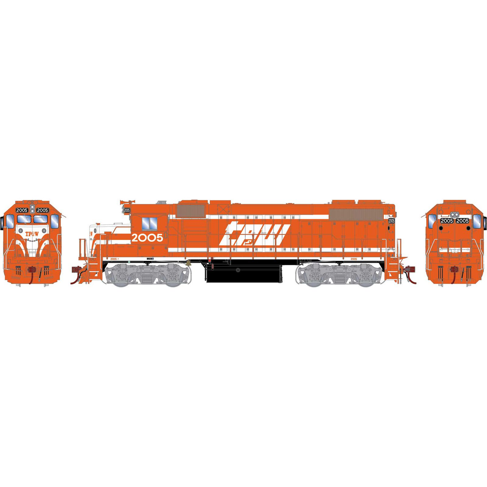 HO GP38-2 with DCC & Sound TP&W Red & White #2005