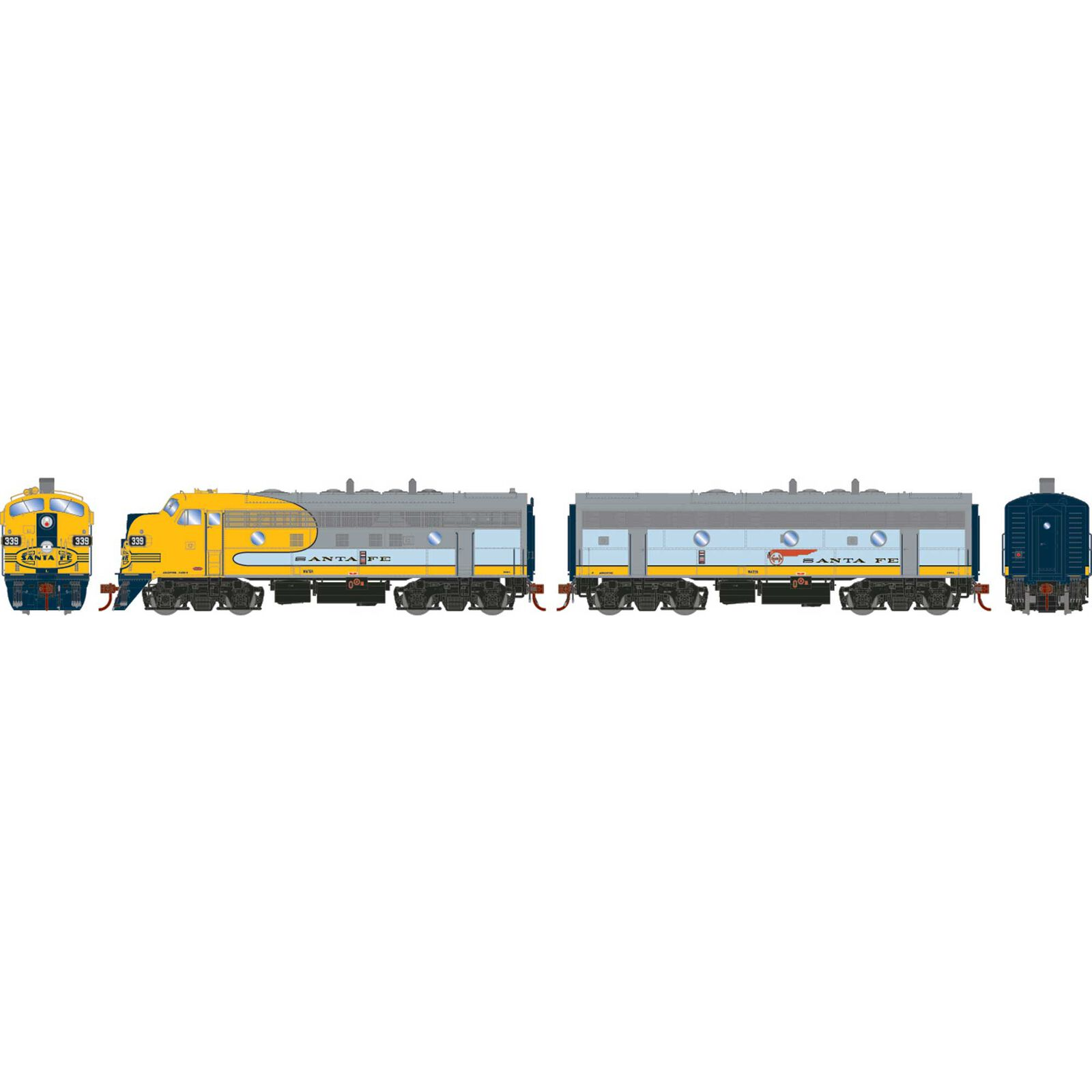 HO F7A F7B with DCC & Sound SF Freight #339L #348A