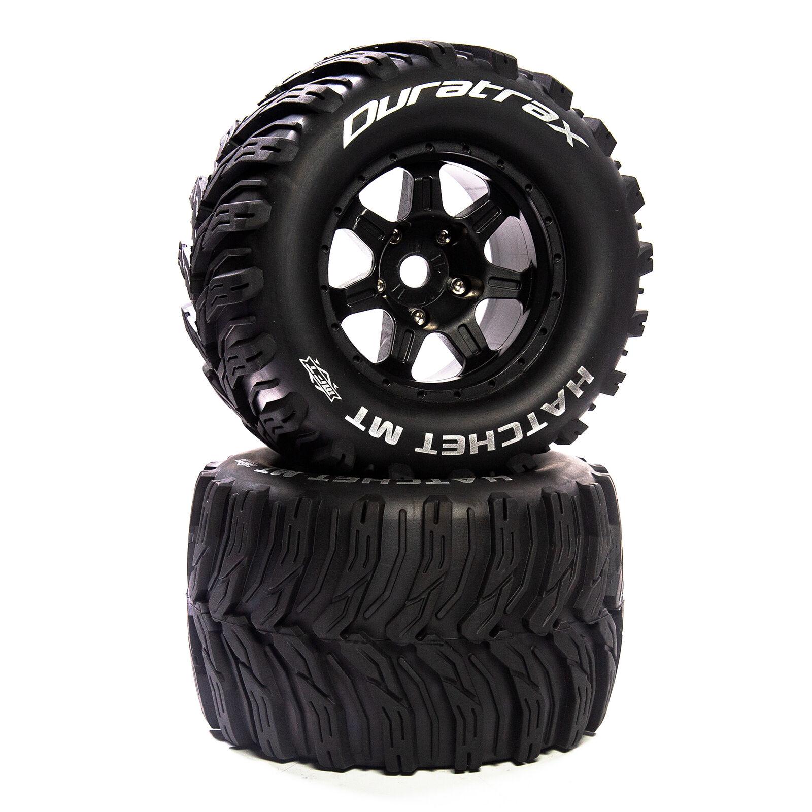 """Hatchet MT Belt 3.8"""" Mounted Front/Rear Tires .5 Offset 17mm, Black (2)"""