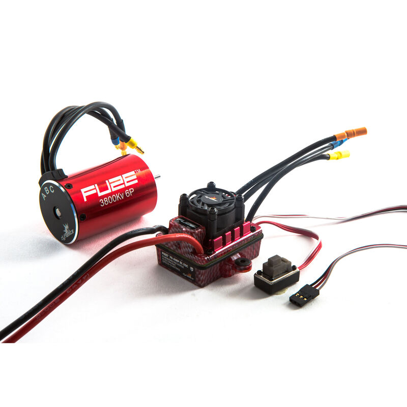 Fuze 1/10 SCT 6-Pole Waterproof ESC/Brushless Motor Combo V2, 3800Kv: 3.5mm Bullet, EC3