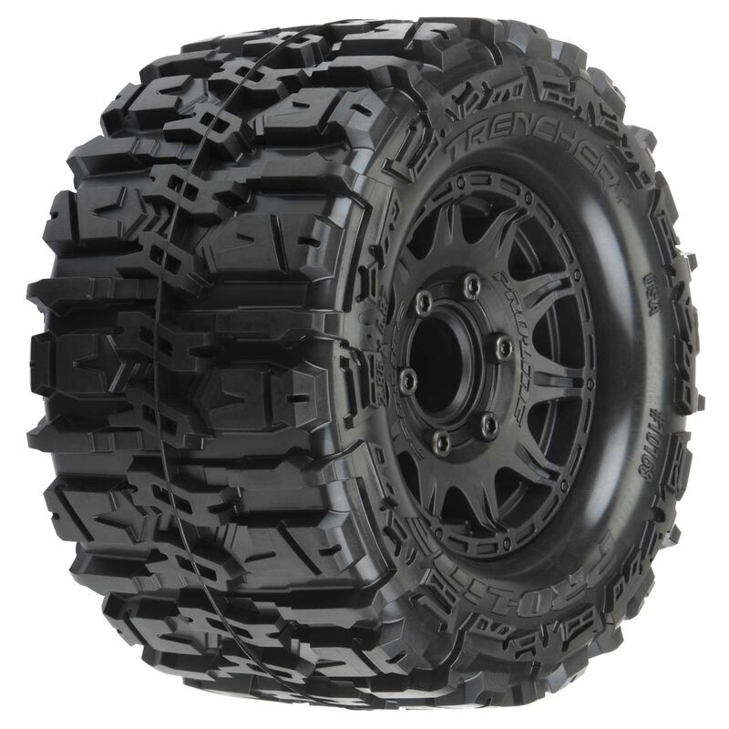 """1/10 Trencher HP F/R 2.8"""" Mounted Tires MT 12mm (2) Black"""
