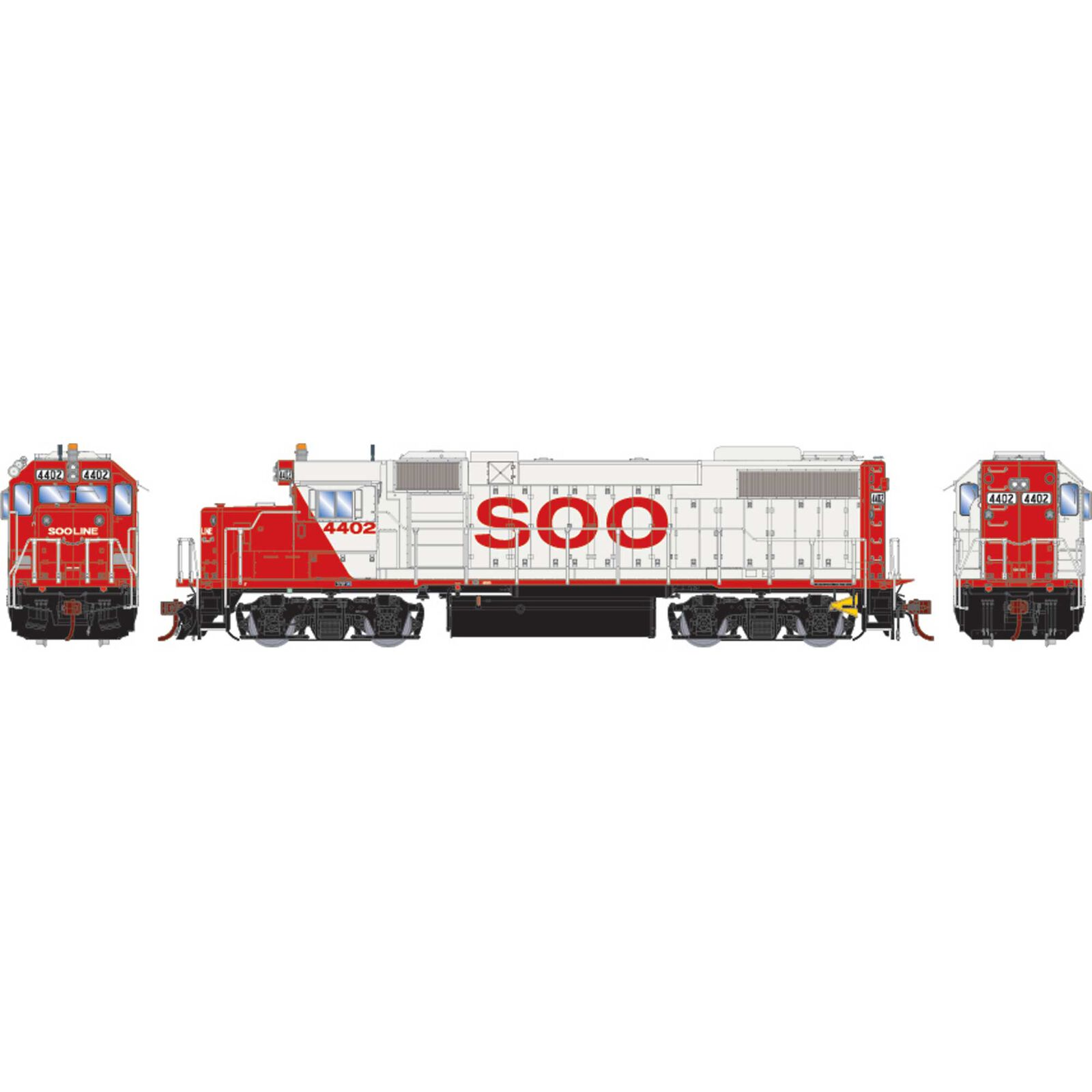 HO GP38-2 with DCC & Sound SOO White Red Letter #4402